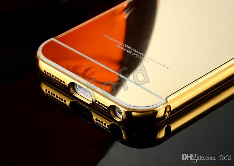 Luxury Aluminum Ultra-thin Mirror Metal Bumper Case Clear PC Cover Frame for iPhone 6 6S Plus 5S up