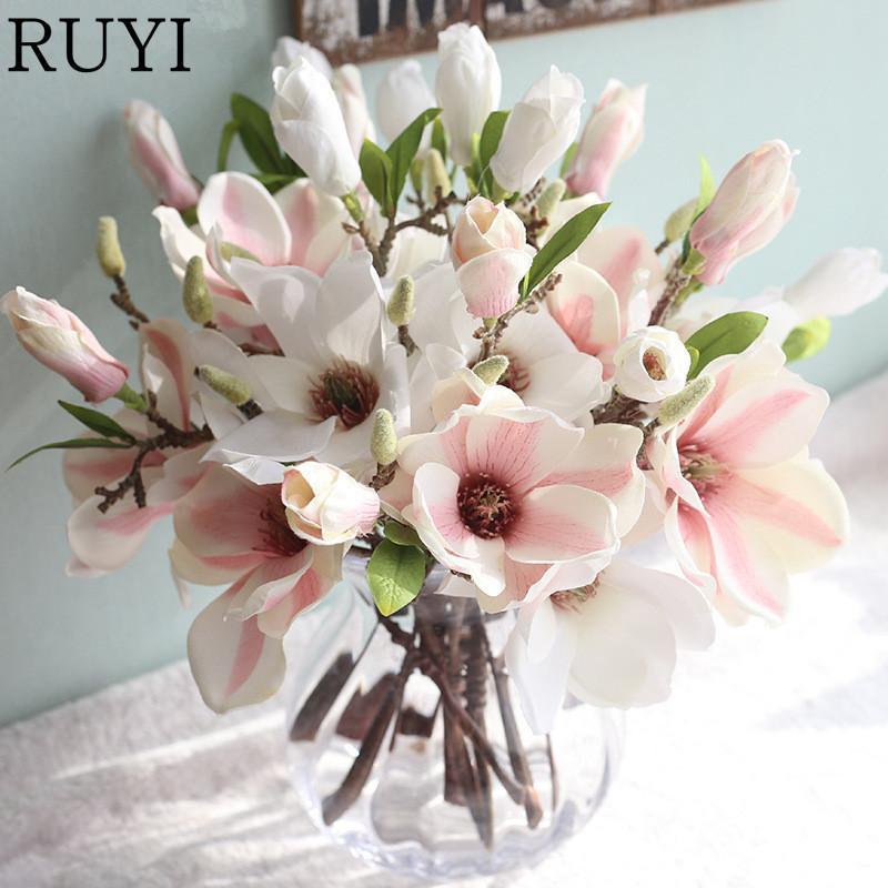2018 3 Heads Bouquet Magnolia Artificial Silk Flower Wedding Table ...