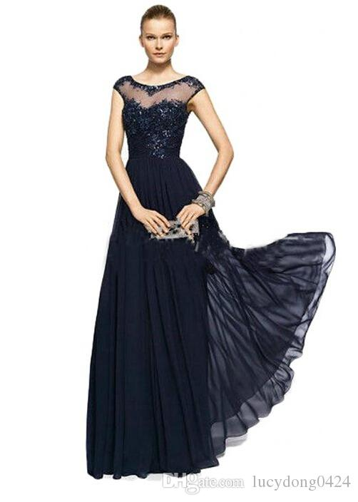 Vintage Chiffon Lace Crew Illusion Neck Prom Evening Gowns Appliques Beads Cap Sleeves Plus Size Mother of the Bride Dresses