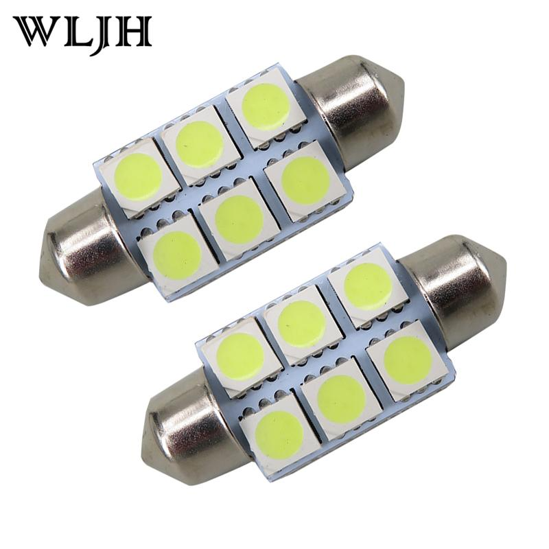 WLJH High Quality White 31mm 36mm C5W 5050 6 SMD Interior Festoon Dome Map C5W Car Light Lamp Bulb Pathway lighting 12V Lamp