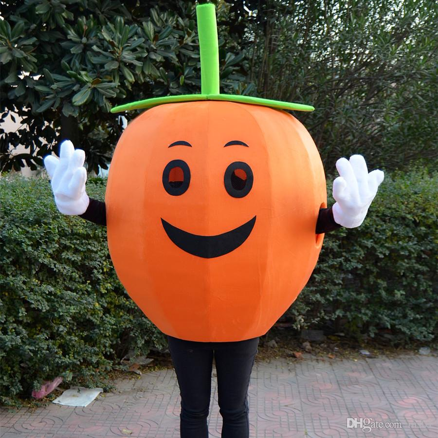 pumpkin high quality Orange fruit whimsy apple mascot costume fancy dress adult size x'mas party Halloween free shipping