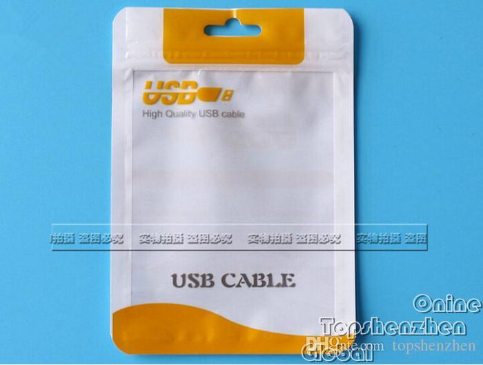 Emballage à fermeture éclair Sac pochette en plastique pour chargeur de voiture Micro USB câble de synchronisation audio écouteur pour iPhone Pour Sumsung Accessoires