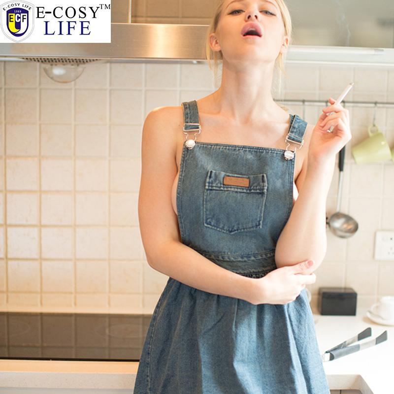 Naked In The Kitchen: 2016 New Kitchen Apron Denim Sleeveless Sexy Aprons Korean
