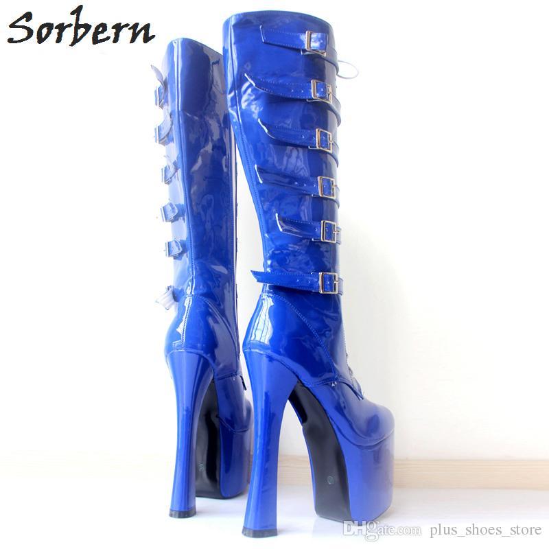 Sorbern зашнуровать толстые пятки сапоги пряжками высокий каблук платформа черный патент сапоги мода танцевальные сапоги высокое качество высокого колена сексуальная женская обувь