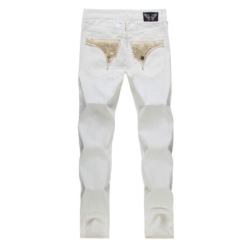 25f4ed1c53 Compre Nuevos Pantalones Vaqueros Blancos De La Bandera Americana Para Los  Hombres Del Dril De Algodón Delgado Vaqueros Apegados Rectos Hombres  Diseñador De ...
