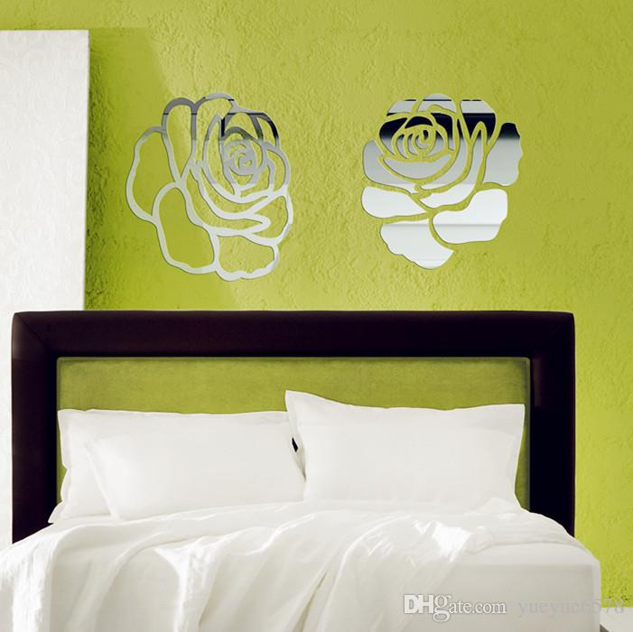 Free shipping 2pcs of cut out rose flower mirror sticker , 40x40cm beautiful art 3D wall mirror sticker acrylic mirror sticker