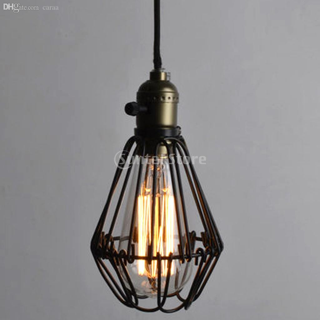 Online Cheap Wholesale New Arrivals 2015 Retro Iron Hanging L& Cages Shade No Wire Pendant Light E27 Antique Brass By Caraa | Dhgate.Com & Online Cheap Wholesale New Arrivals 2015 Retro Iron Hanging Lamp ... azcodes.com