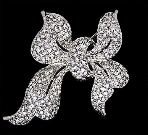 Rdodium Silver Plated Full Clear Crystal Rhinestone Pretty Large Bridal Bow Brooches and Pins For Wedding gift