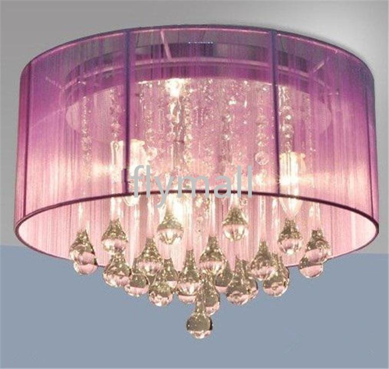 Современная мода ткань потолочное освещение люстра свет Crystle подвесной светильник Кристалл потолочное освещение Гостиная Спальня Белый Фиолетовый Красный Черный