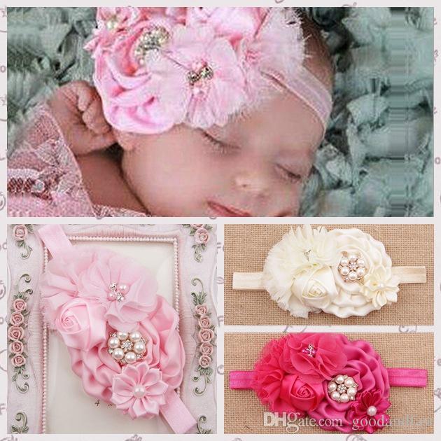 new baby girls headbands bows big flowers satin chiffon hair