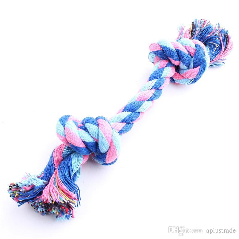 Jouet d'animal de compagnie coton tressé en os corde double noeud trompette corde de coton à mâcher pour chien chiot livraison gratuite