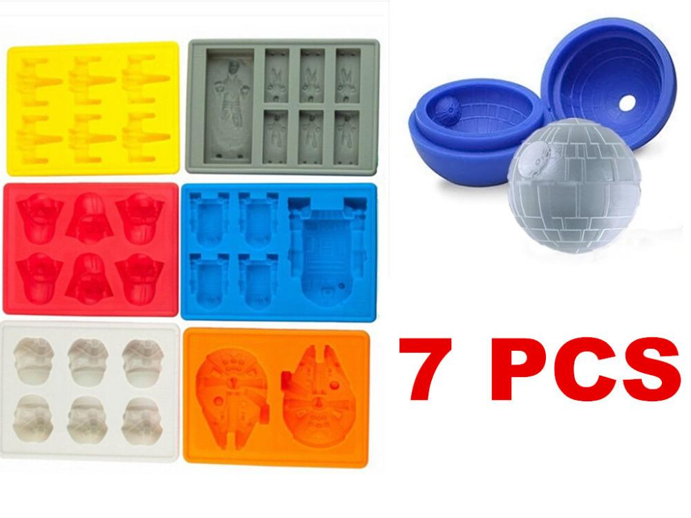 2015 Popular Death 7pc Star Wars Darth Vader Soldado de la tormenta R2D2 Falcon X-Wing Hans Solo Molde de silicona Ice Cube Tray Chocolate