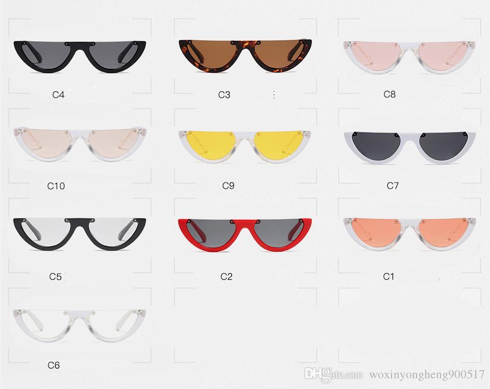 Serin Trendy Yarım Çerçeve Çerçevesiz Kedi Göz Güneş Kadınlar Için Moda Temizle Marka Tasarımcısı Güneş gözlükleri Kadın ulosculos de sol