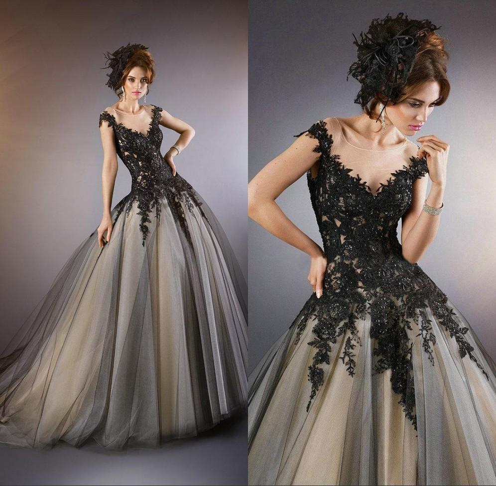 Elegant See Through Black Evening Gowns 2014 Lace Appliques ...