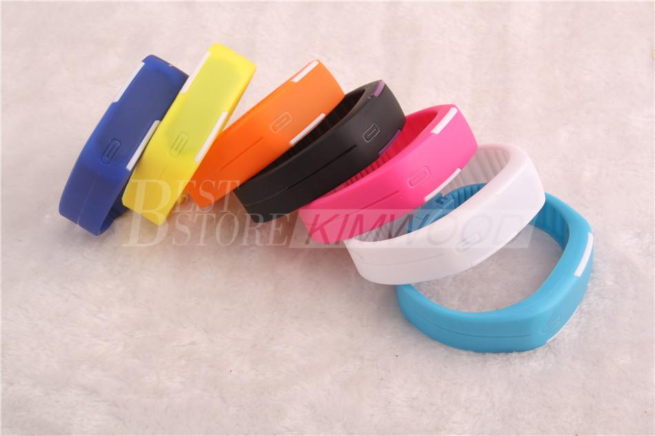Best Price!! Sports Rectangle LED Digital Display Touch Screen Watches Rubber Belt Silicone Bracelets Wrist Watches