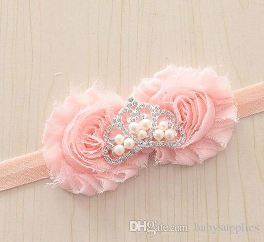 Shabby flower princesa Crown diadema Rhinestone Pearl Tiara banda para el bebé recién nacido hairbows diademas 20 unids