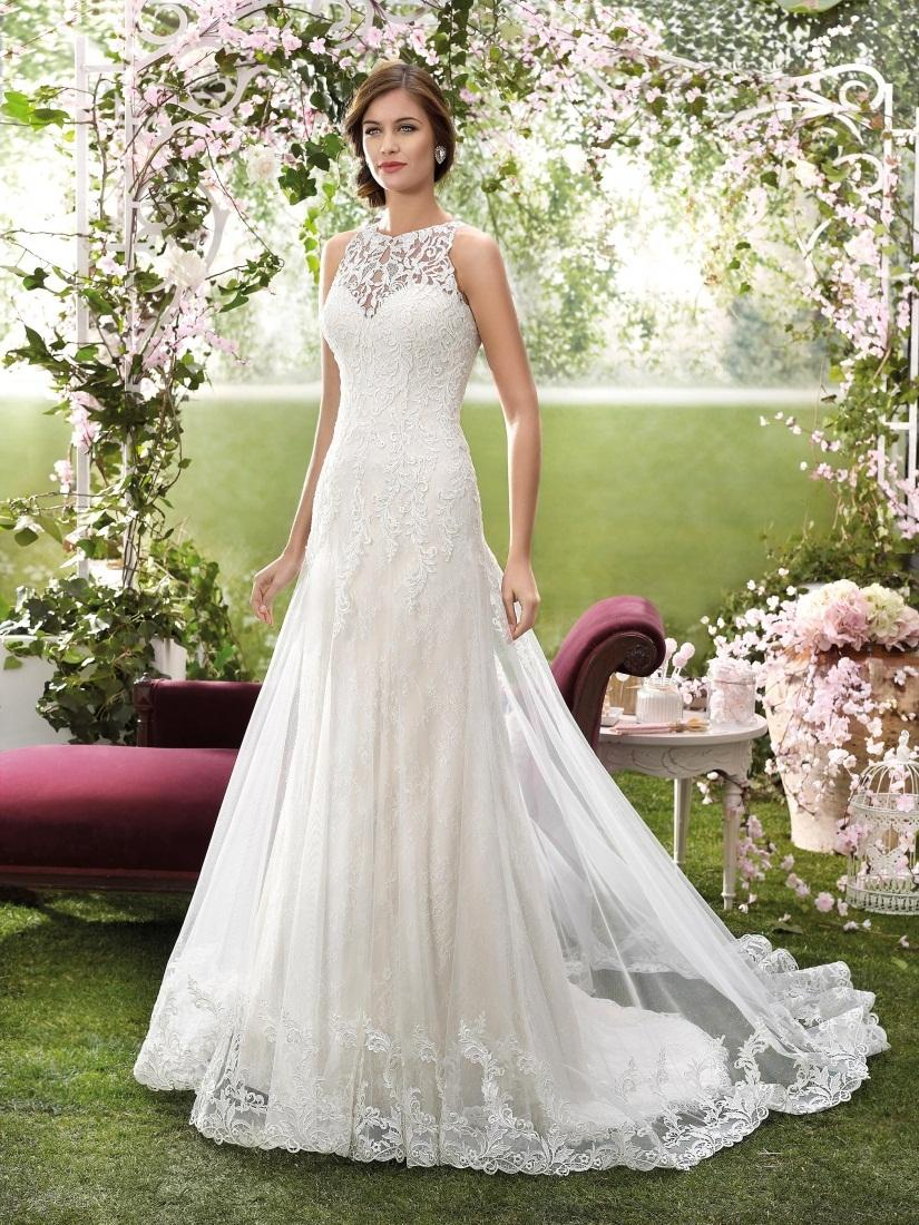Discount 2016 Designer Wedding Dresses By Novia DArt High Neck Appliqued Tulle And Lace Bridal