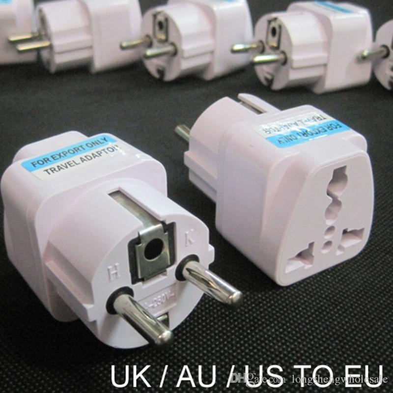 100 Adet / grup Evrensel 2 Pin AC Güç Elektrik Fiş Adaptörü Dönüştürücü Seyahat Güç Şarj İNGILTERE / ABD / AU AB Fiş Adaptörü