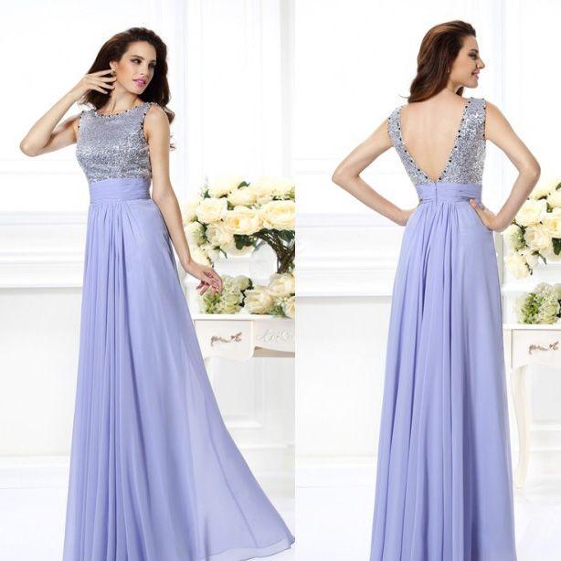 Sparkle Prom Dresses Custom Made Backless Sequin Cloth Floor Length ...