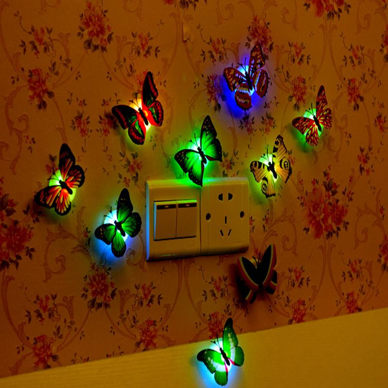 Colorful flashlight Fiber Optic Butterfly Nightlight led christmas lights Decor wholesale 3W LED Wedding Room Party Decoration Wall Lights