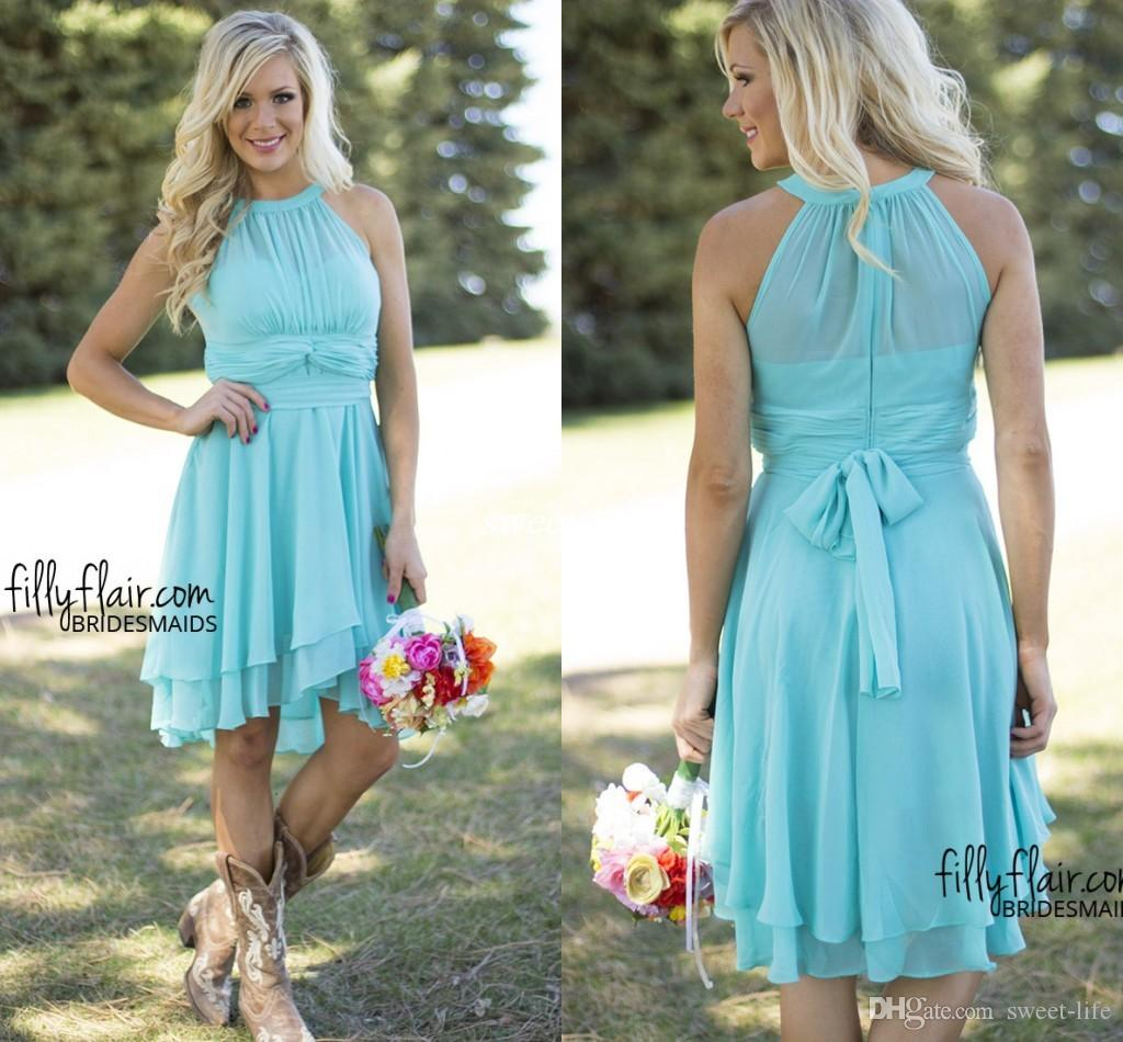Sky Blue Short Party Dresses Maid Of Honor With Pleat Chiffon Sash ...