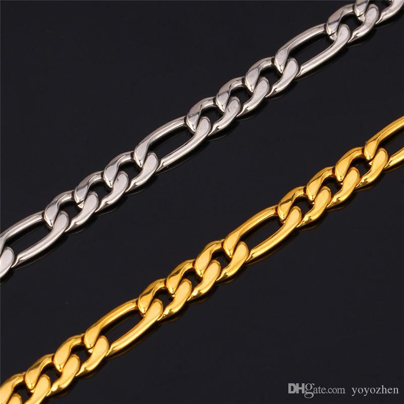 Neue Trendy Figaro Kette Edelstahl Halskette Sets 18 Karat Reales Gold Überzogene Klumpige Halskette / Armband Männer Schmuck YS226