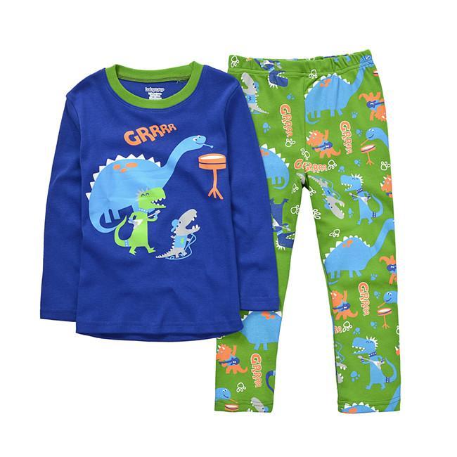 Chrildren Pijama Longe Kollu Karikatür Giysi Dinozor Seti Sonbahar Kış 2 Parça Pijama Ev Giyim Için Chrildren