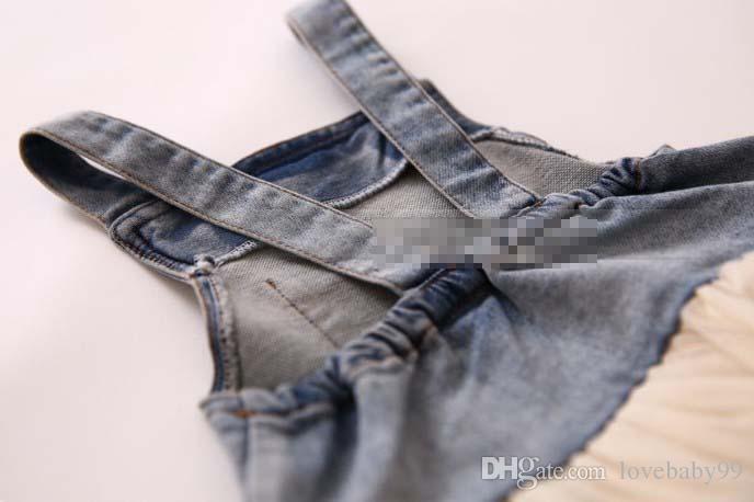 Kızlar Giyim Kot Çocuk Suspender Elbise Dantel TUTU Katmanlı Tül Kayış Elbiseler 2015 Kovboy Parti abiye Bej Beyaz Pembe I2597 Yıkanmış
