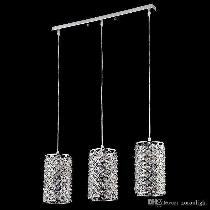 A buon mercato E27 E12 lampade a sospensione a LED Competitive placcante cristallo LED elegante lampade a sospensione cromate Fit for Foyer 110 V 220 V Tensione sj-010