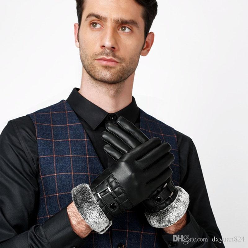 Hommes Hiver Chaud Gants En Cuir Moto Conduite Fitness Gants De Fourrure Écran Tactile Doux Épais Polaire Doublure En Plein Air Extérieur Coupe-Vent