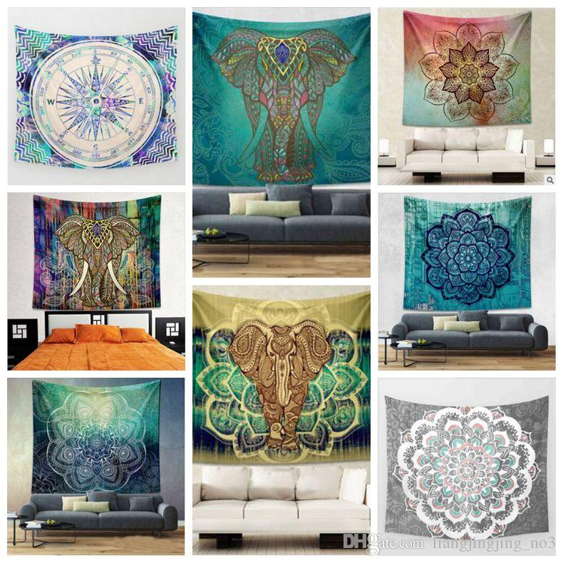 22 Designs 150*130cm Tapestries Bohemian Mandala Beach Tapestry Hippie Throw Yoga Mat Towel Elephant Peacock Beach Shawl CCA7855 30pcs