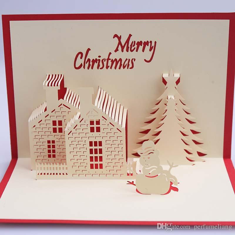 Tarjetas de Navidad 3D Pop Up Serie Feliz Navidad Tarjetas de Felicitación Personalizadas hechas a mano Regalos de Navidad Recuerdos Postales ZA5176