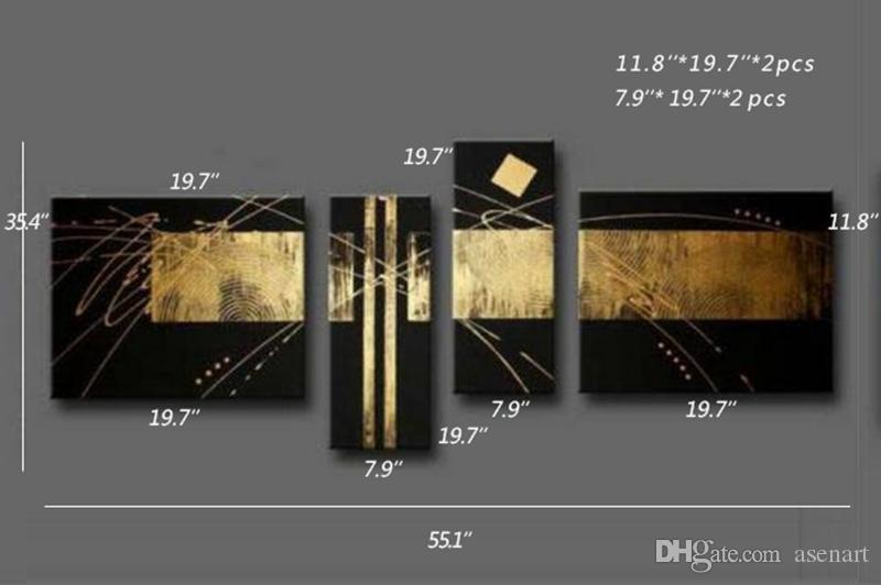100% Handpainted Black Gold Abstract Oil Painting on Canvas Mural Art Drawing for Home Living Hotel Office Wall Decor