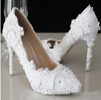 2017 New White Beautiful Vogue Wedding Shoes Lace Pearl Beads High Heels Bridal Stiletto Heel Accessories Pumps Diamante
