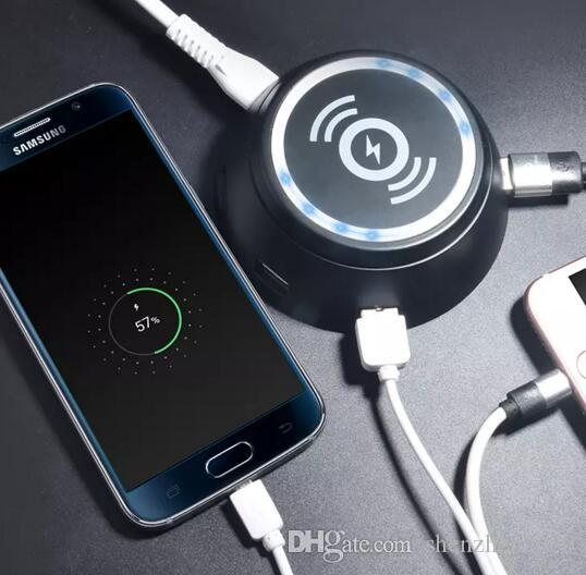 Für iphone 8 x 6-port usb qi wireless ladegerät für iphone 8 x samsung galaxy s6 s7 s8 plus led licht 5 v / 3.1a schnellladung pad 2017