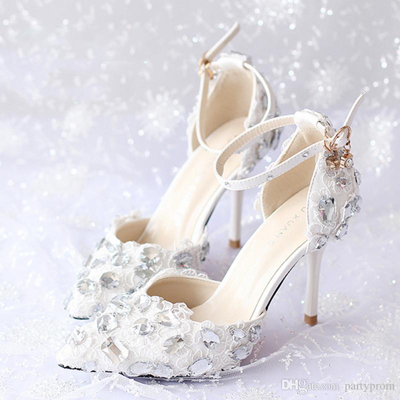 4972f7f4395 Summer New Arrival Ankle Strap Lace Bridal Shoes White Thin Heels Prom  Evening Party Shoes Rhinestone Gorgeous Women High Heels