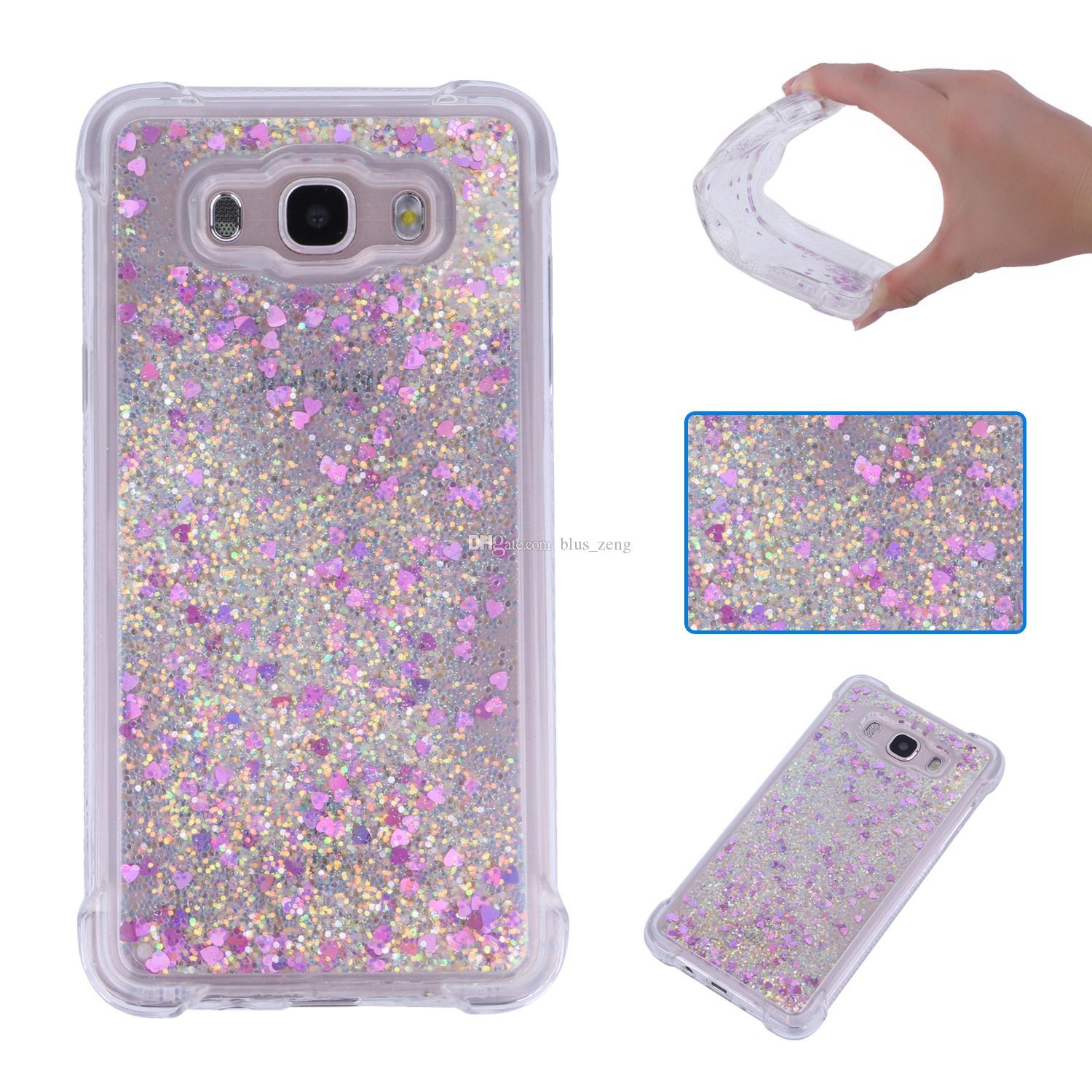 Quicksand Moving Bling Glitter Floating Dynamic Transparent Case Drop Proof Shell for Samsung Galaxy J3 J7 J1 J5 J7 2016 J330 J530 J730 2017 Liquid Case