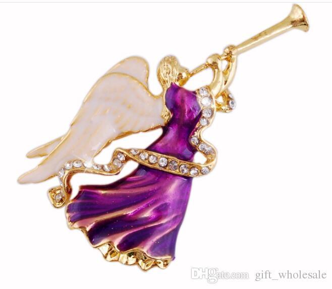 Strass violet tanzanite cristal émaux anges trompette broches costume de mode broche broche bijoux de noël cadeau pour les femmes