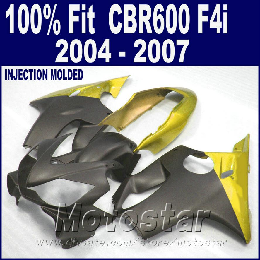Yellow Injection molding for HONDA CBR 600 F4i fairings 2004 2005 2006 2007 fairing kits plastic 04 05 06 07 cbr600 f4i AGSE