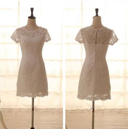 Prawdziwy obraz Krótkie suknie ślubne białe Ivory Custom Made Scoop Neckline Płaszcz Krótki Rękaw Koronki Suknie Ślubne Gorąca Sprzedaż Wysokiej jakości W062