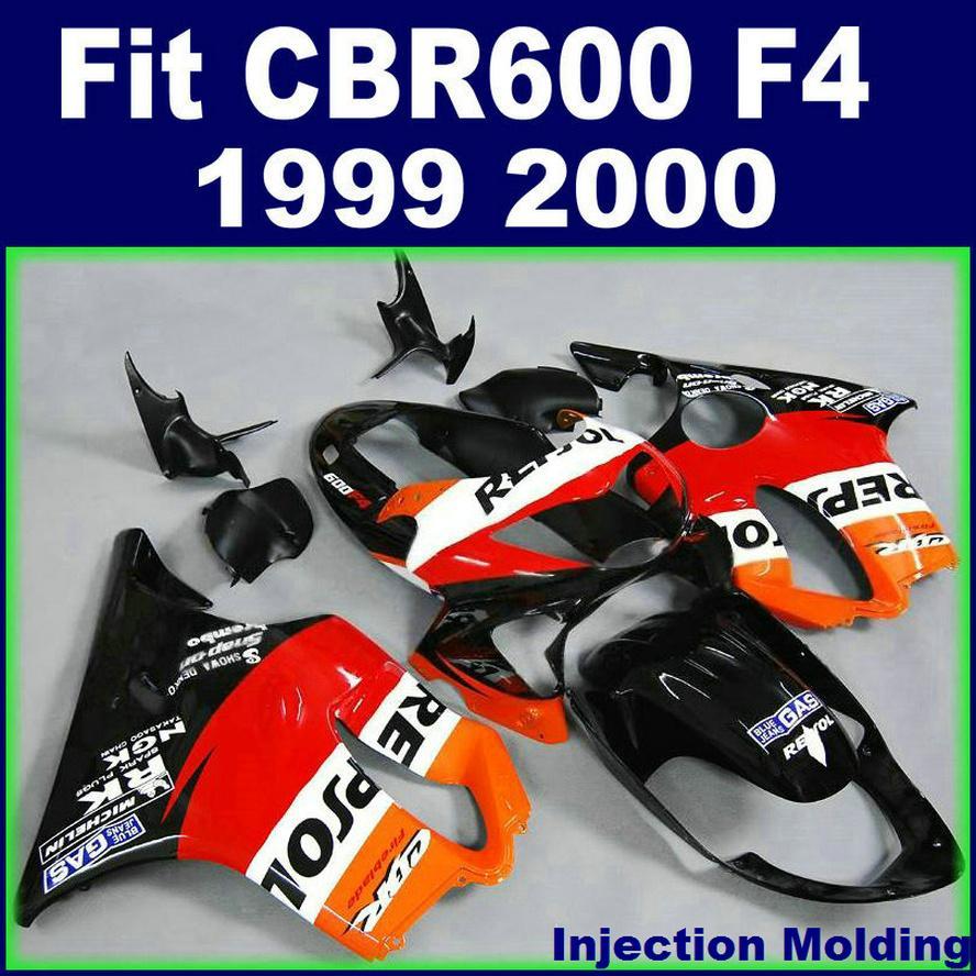 Customize Fullset fairings for HONDA CBR 600 F4 1999 2000 black red 99 00 cbr600 f4 fairing kits
