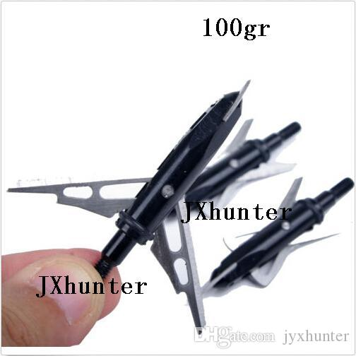 "hunting compound bow arrow heads arrow points target points 100 grain 2"" cutting 2 blades black color"