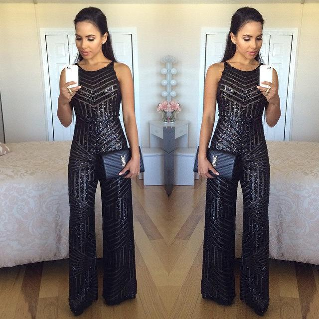 2017 2016 New Black Sequins Jumpsuits For Women Fashion Strap ...