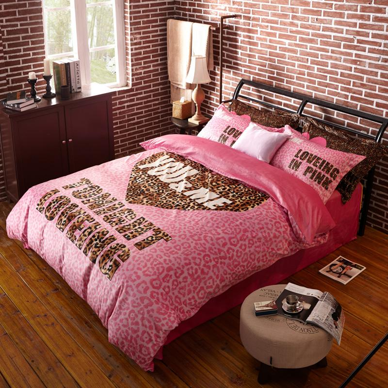 Tonight Loving Pink Leopard Printed Quilt Cover Set