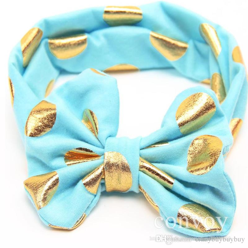 Baby Girls Lovely cute Gold Dot Headbands Kids Big Wide Knotted Bow Head bands Children Infant Hair Accessories Head Wear KHA253