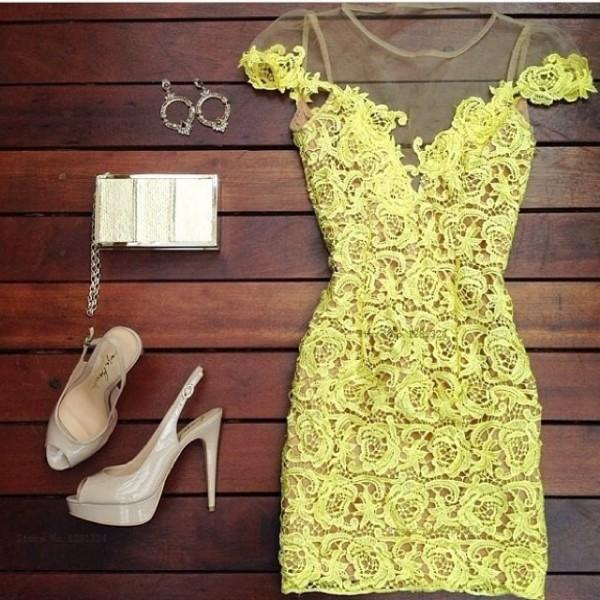 2015 short Sleeve Lace Yellow Evening Dresses Backless Lady Special Occasion Dress Custom made S445M
