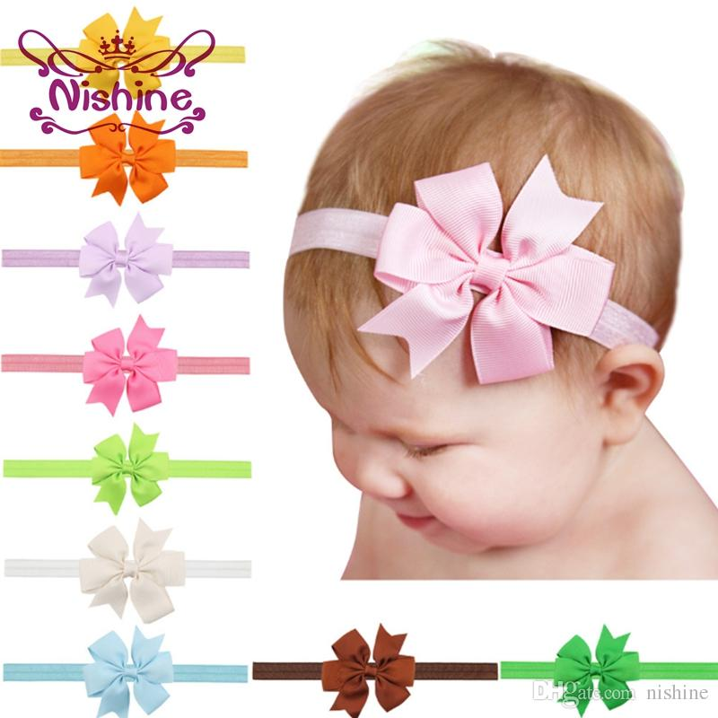 Nishine 3inch Fashion Ribbon Bow Headband Baby Girls Bowknot Headbands Hair Bands Hair Ties Hair Accessories Color: