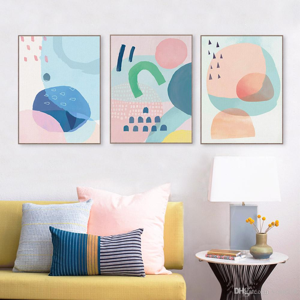 Modern Abstract Colorful Geometric Shape Poster A4 Nordic Living Room Wall Art Print Picture Home Decor Canvas Painting No Frame