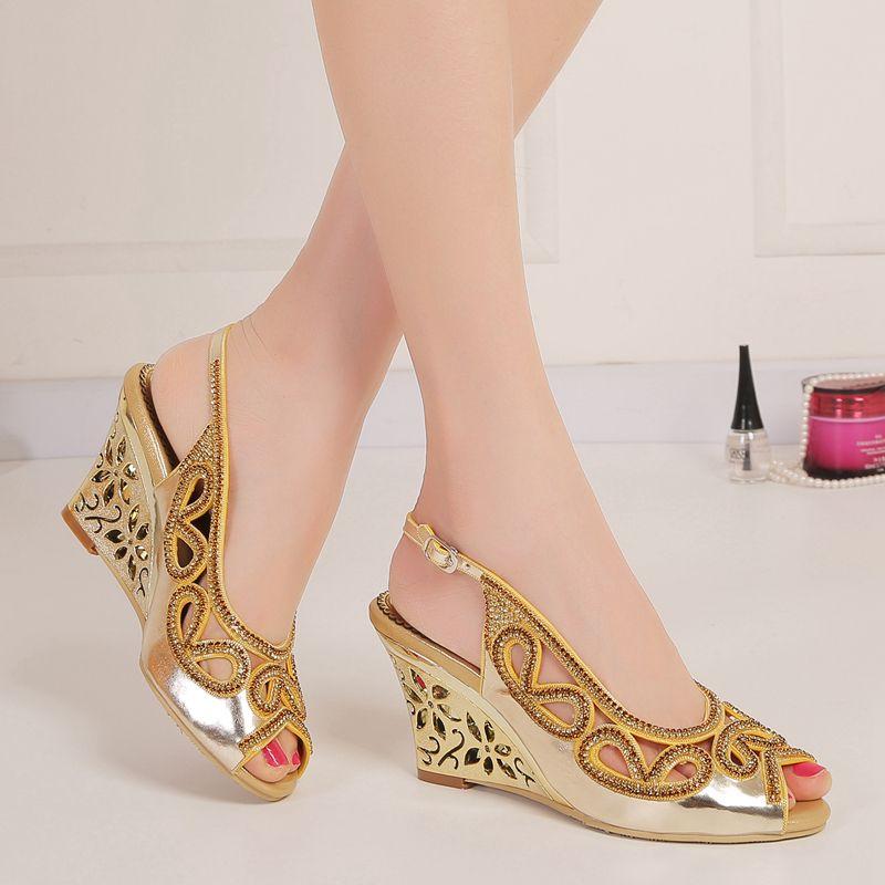 b8fbb67216c Fashion Rhinestones Wedding Shoes Wedge Sandals For Brides 8cm High Heel  Slingback Hollow Out Heel Crystals Shoes Women Peep Toe Slip-ons Wedding  Shoes ...