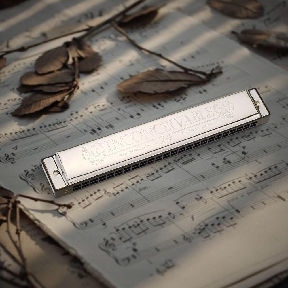 Орган губной гармошки лебедя Tremolo Harmonica Performance Harmonica 24 Отверстия 48 Ключей C C с чёрным ящиком $ 18no track